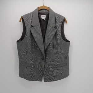 Chico's One Button Pockets Collar Sleeveless Vest
